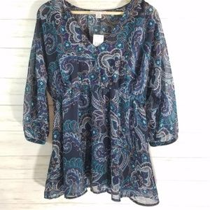 NWT Motherhood Maternity blouse paisley floral M
